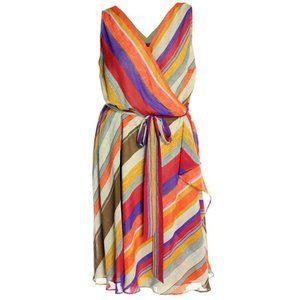 Lauren Ralph Lauren Sleeveless Striped Wrap Dress